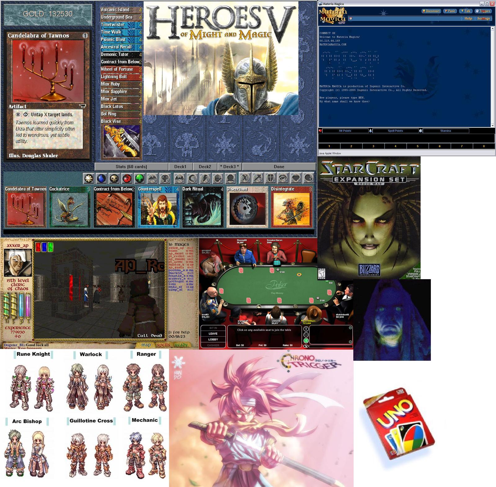 All_My_Favorite_Games Starcraft Magestorm Heroes Moongate Shandalar Ragnarok Poker UNO Atmosphere